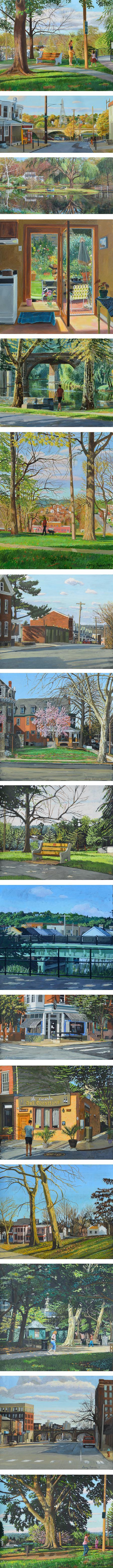 Larry Francis, Philadelphia paintings oil and gouache