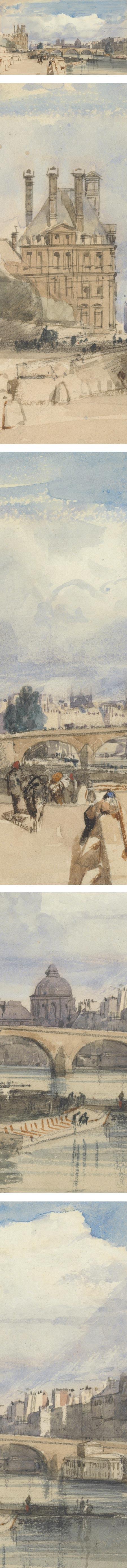 Le Pont Royal, Paris; Thomas Shotter Boys , watercolor and ink