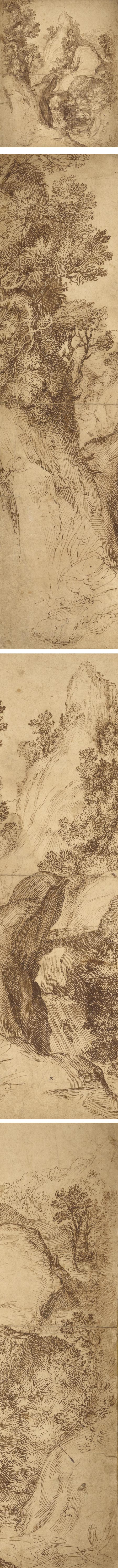 Rocky Landscape with a Waterfall, Girolamo Muziano, pen and brown ink
