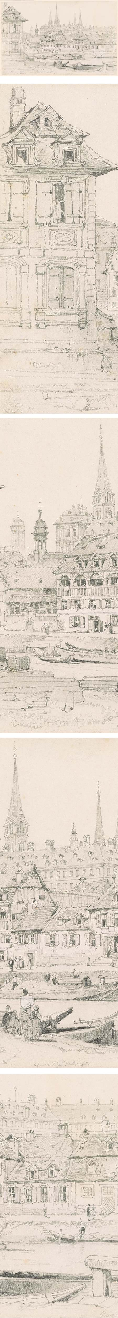 View of Bamberg, from the Ludwigskanal, Samuel Prout, pencil on paper