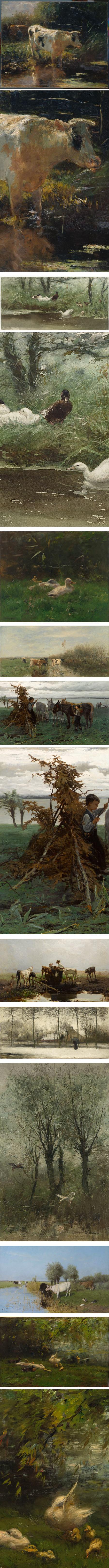 Willem Maris, 19th century Dutch painter, cows and ducks