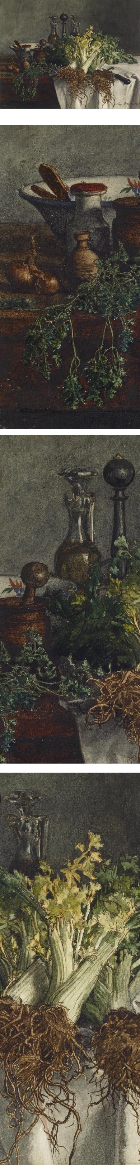 Still Life on Kitchen Table with Celery, Parsley, Bowl, and Cruets; Leon Bonvin watercolor
