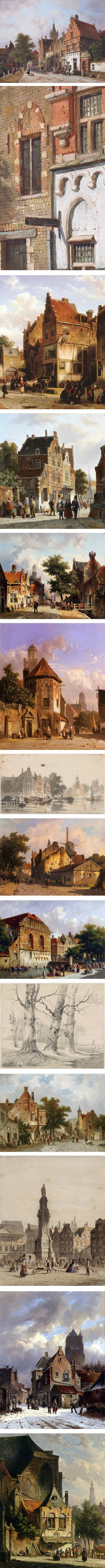 Dutch 19th century cityscape paintings