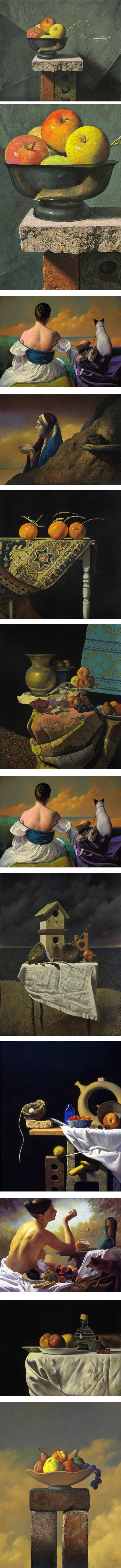 Ron Monsma, pastel and oil, figures and still life