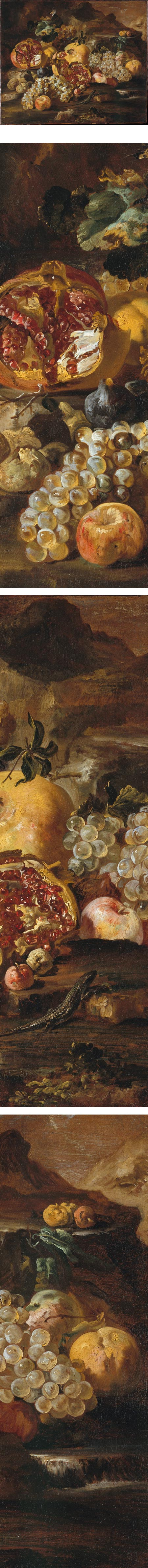 Pomegranates and Other Fruit in a Landscape, Abraham Brueghel
