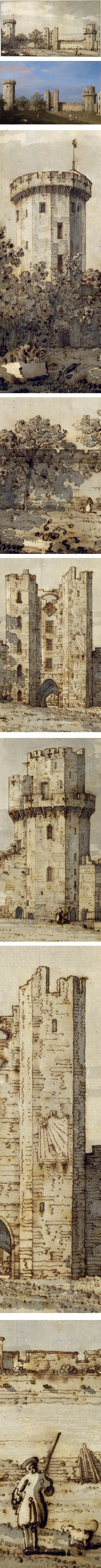 Warwick Castle: The East Front from the Courtyard, Canaletto (Giovanni Antonio Canal), pen and brown ink, gray wash