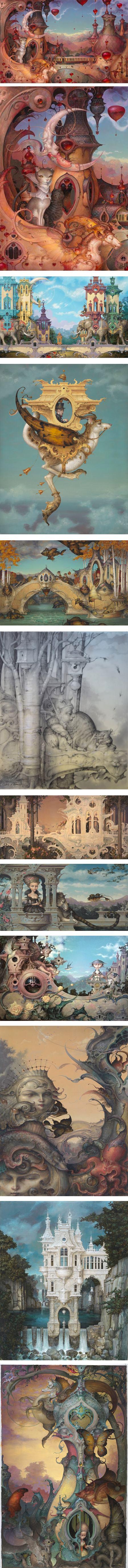 David Merriam, fantastical architectural dreamscapes