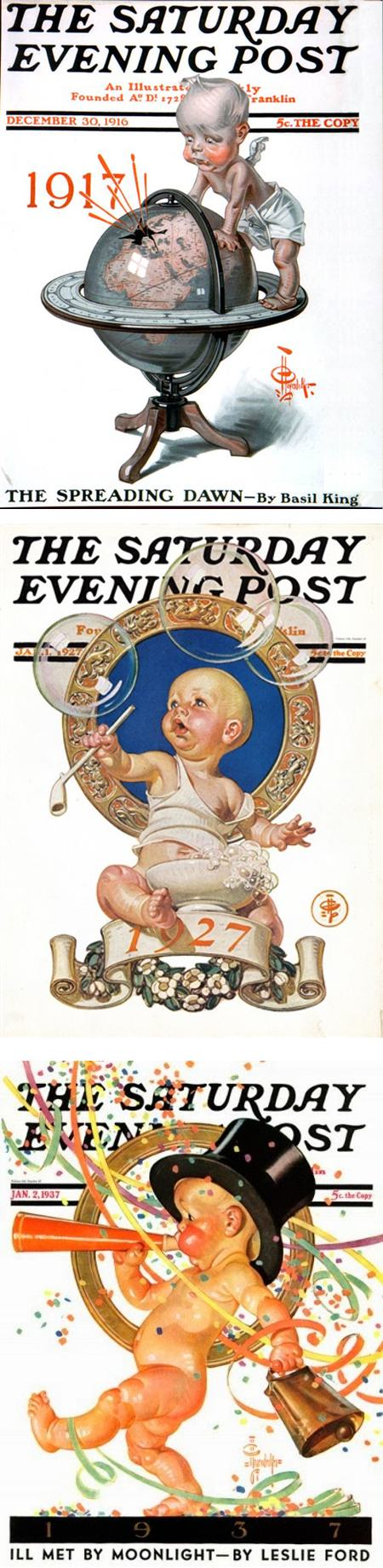 Happy Leyendecker Baby New Year 2017!,  J.C. Leyendecker New Year's babies from covers for The Saturday Evening Post