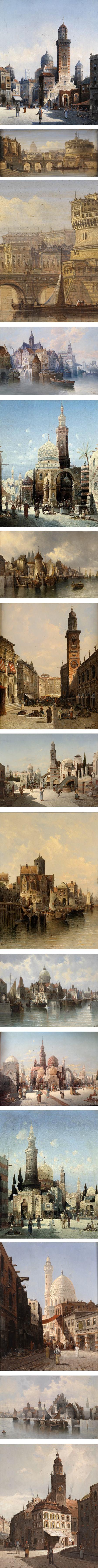 August von Siegen, 19th century cityscape