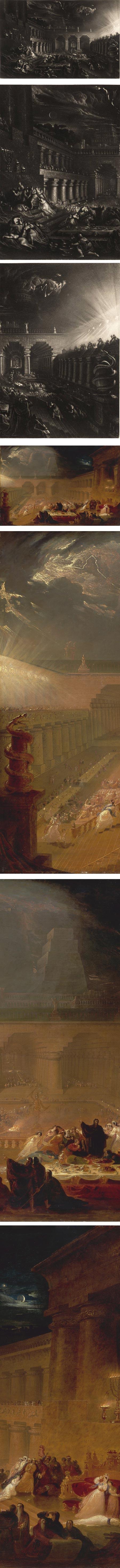 Belshazzar's Feast, mezzotint and painting; John Martin