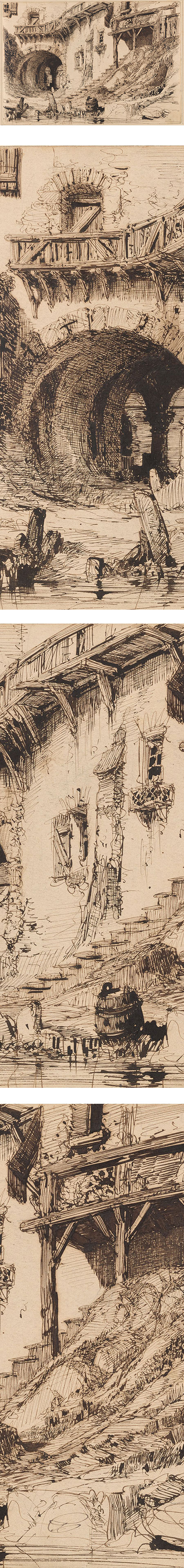 Ancient Structure Beside a Stream, Carlo Ferrario ink drawing