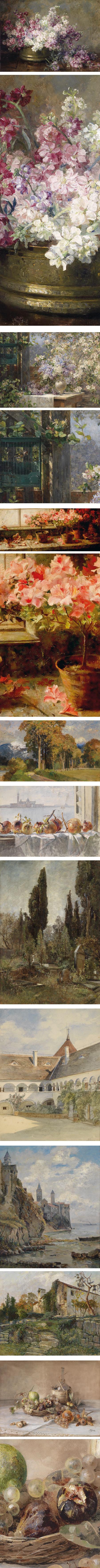 Marie Egner, Austrian painter, still life, florals, landsapes
