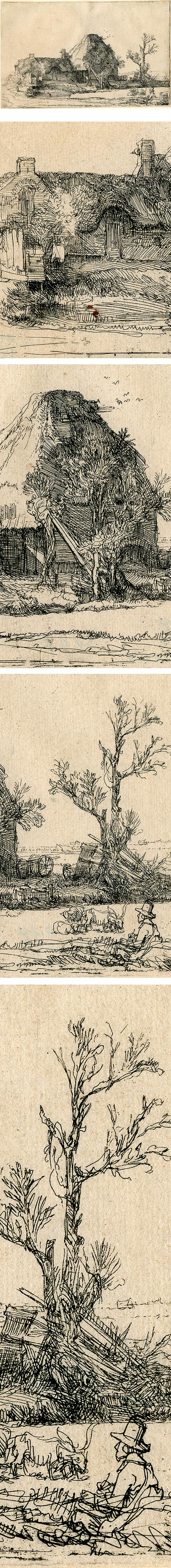 Cottages and Farm Building with a Man Sketching, Rembrandt Harmenszoon van Rijn, etching