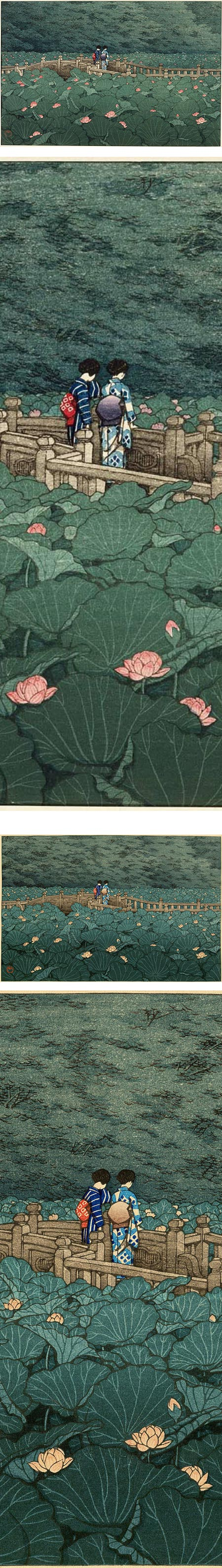 The Pond at Benten Shrine in Shiba (Shiba Benten ike), Kawase Hasui