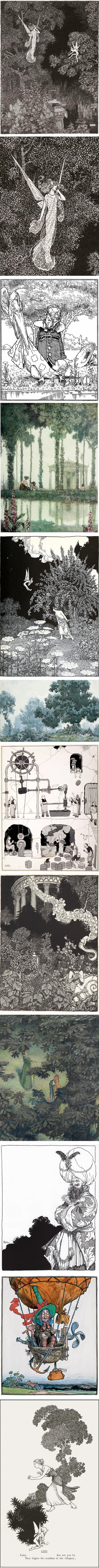 W. Heath Robinson, illustrations, cartoons, contraptions, watercolors