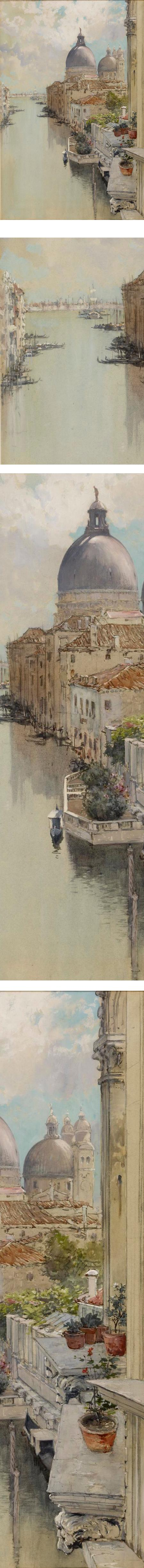 Over a Balcony, View of the Grand Canal, Venice; Francis Hopkinson Smith watercolor