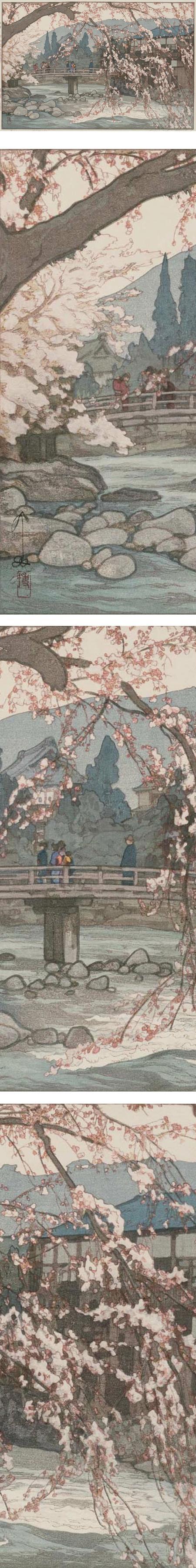 Spring in a Hot Spring (Onsen no haru), Hiroshi Yoshida