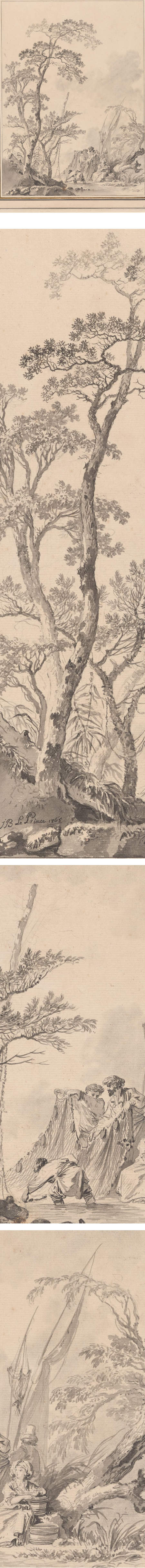 Imaginary Landscape with Fishermen Pulling in Their Nets, Jean-Baptiste Le Prince ink and wash drawing