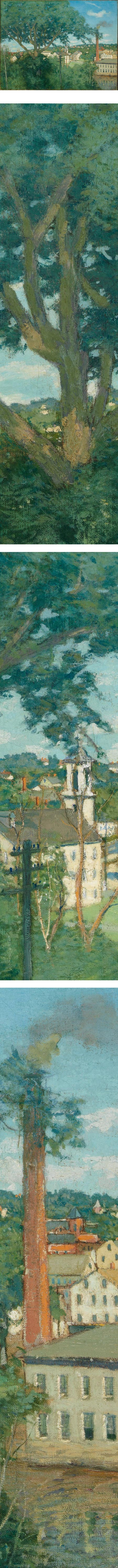 The Factory Village,  Julian Alden Weir, American Impressionist painting