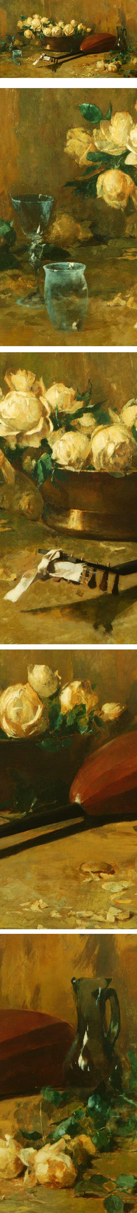 Still life with roses and mandolin, Emil Carlsen