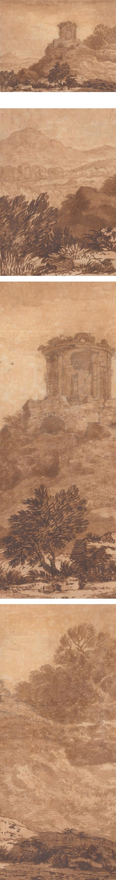 Landscape with Ruined Temple, Alexander Cozens, Brown ink and wash over graphite; roughly 12 x 16 inches (32 x 40 cm); in the collection of the Yale Center for British Art