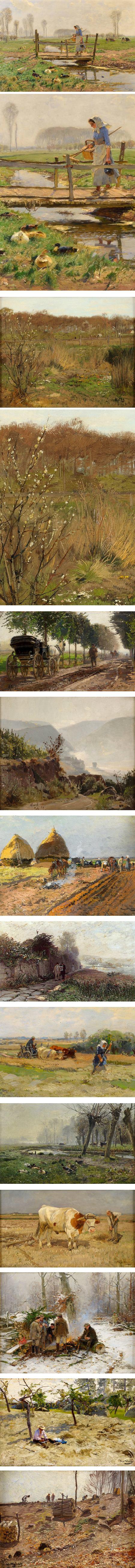 Hugo Muhlig, 19th century Impressionist influenced landscapes