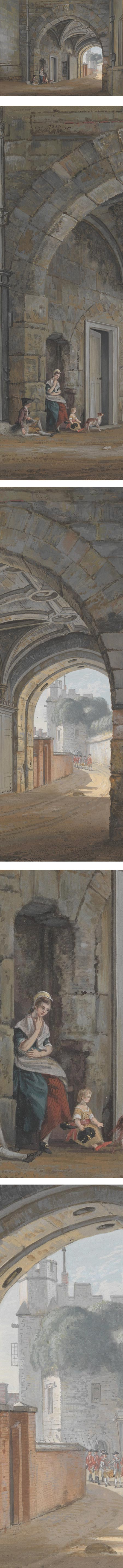 Queen Elizabeth Gate, Paul Sandby, gouache on paper