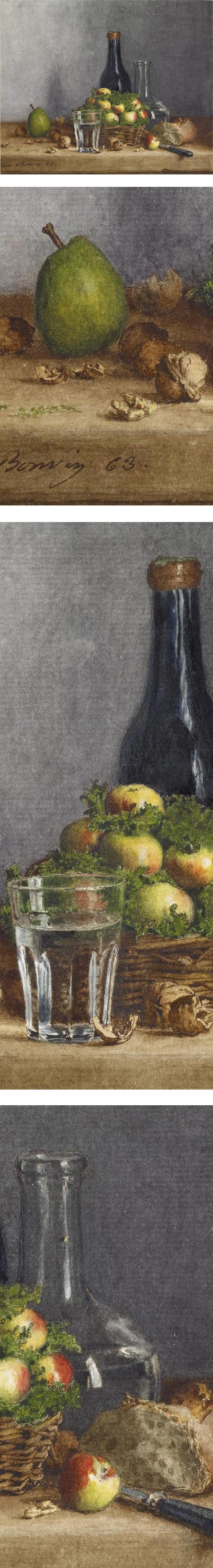 Still Life: Basket of Apples, Pear, Walnuts and Knife; Leon Bonvin