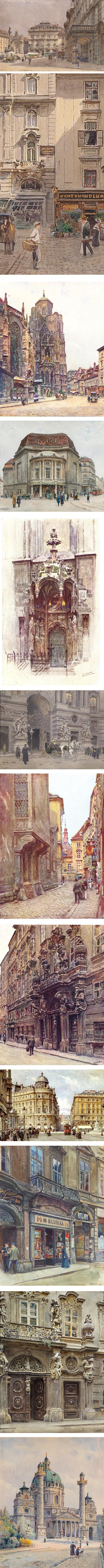 Ernst Graner, Austrian watercolor painter, watercolors of Vienna