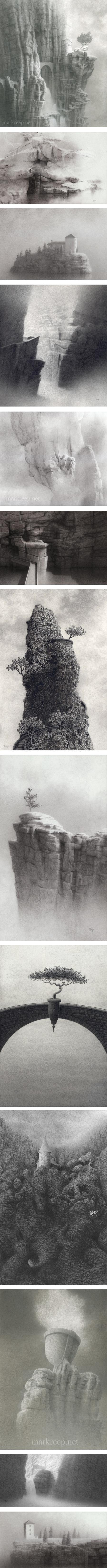 Mark Reep, imaginary landscape drawings in pencil ink and charcoal