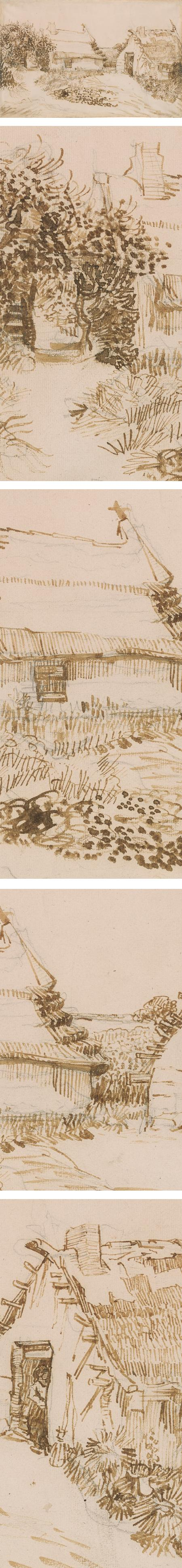 Two Cottages at Saintes-Maries-de-la-Mer, Vincent van Gogh, ink drawing