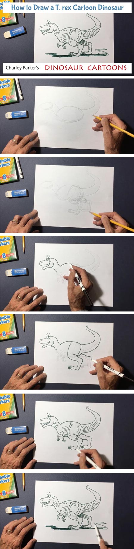 How to Draw a T.rex Cartoon Dinosaur, how to video
