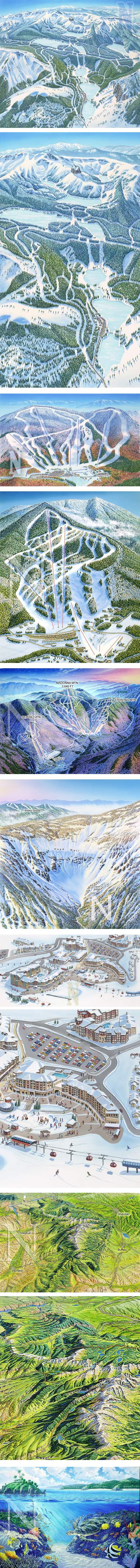 James Niehues, hand painted aerial maps of ski resorts