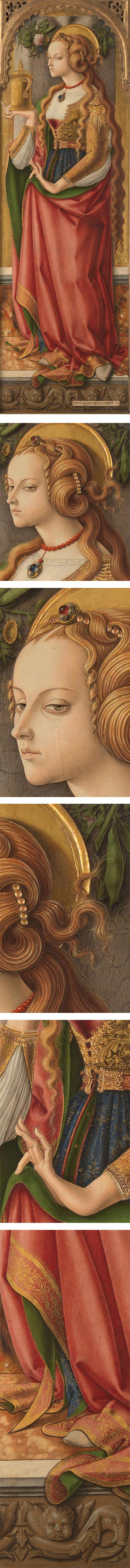 Mary Magdalene, Carlo Crivelli, Tempera on panel, 60 x 19 inches (152 x 49 cm), in the collection of the Rijksmuseum, 1480