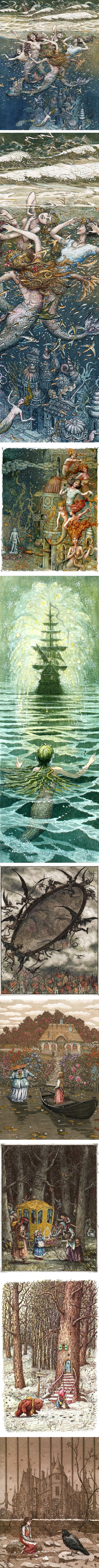 Boris Arkadievich Diodorov, childrens book illustration, Hans Christian Anderson, The Little Mermaid, The Snow Queen, Vinni-Pukh