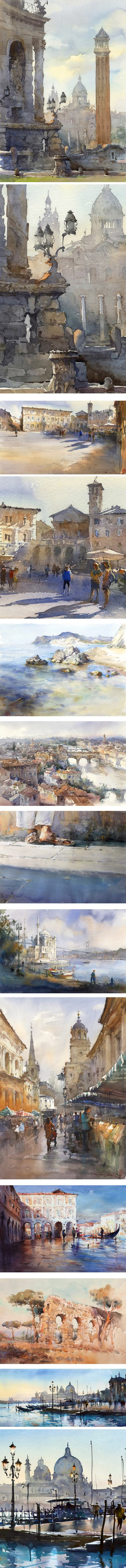 Igor Sava, watercolor cityscape Italy