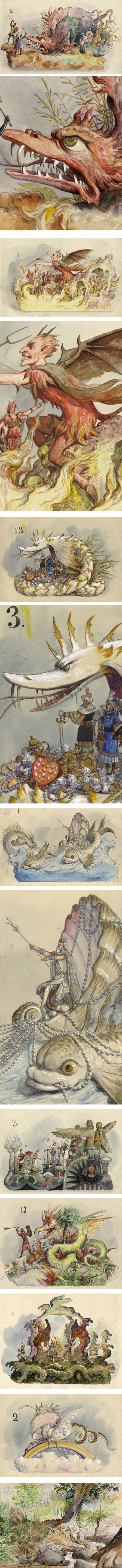 Bror Anders Wikstrom, imaginative float designs of dragons and other, in watercolor