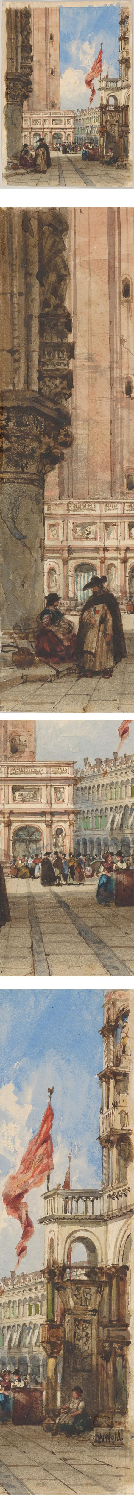 St. Mark's Square, Venice, with Loggetta, William Wyld, ink and watercolor