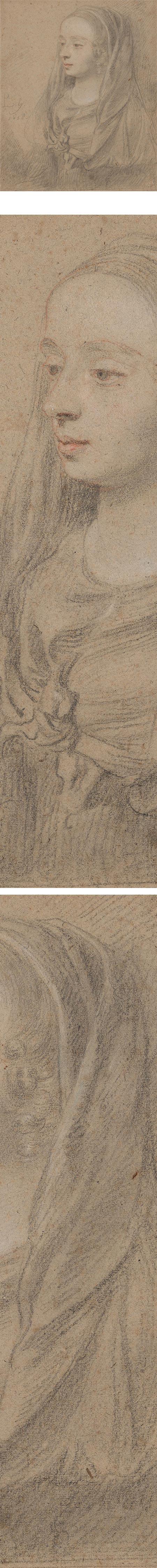 Peter Lely trois crayon portrait