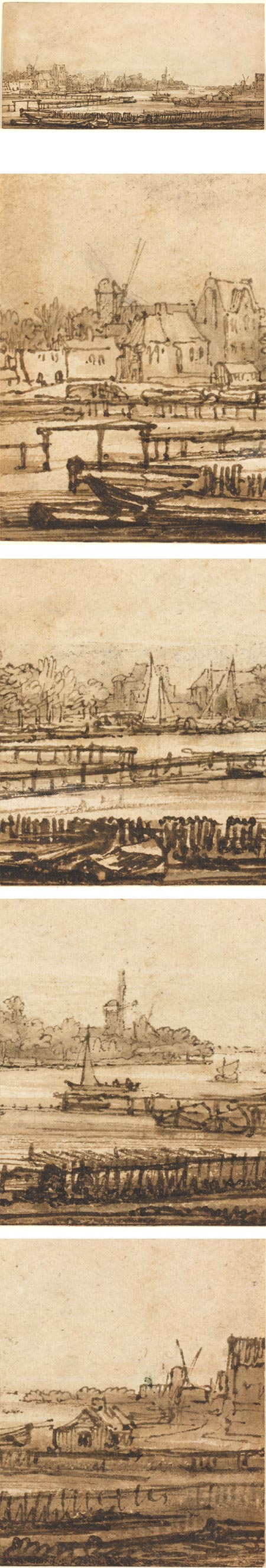 View over the Amstel from the Rampart,  Rembrandt van Rijn, ink and wash drawing