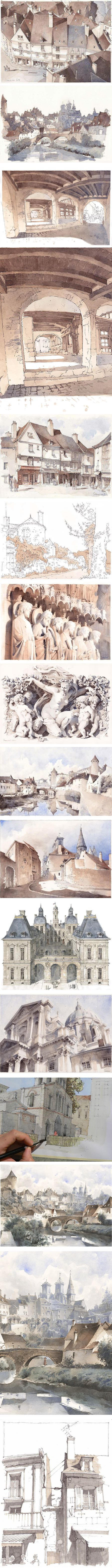 Jeremy Soheylian, French artist, urban sketching in pen and watercolor
