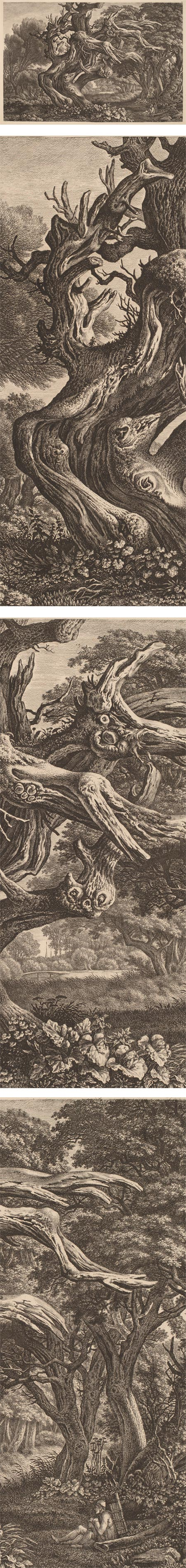 Dead Oak Tree, Carl Wihelm Kolbe, etching