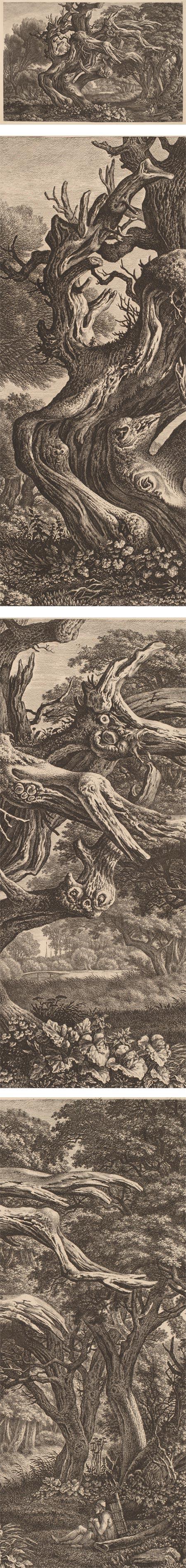 Dead Oak Tree, Carl Wihelm Kolbe, etching