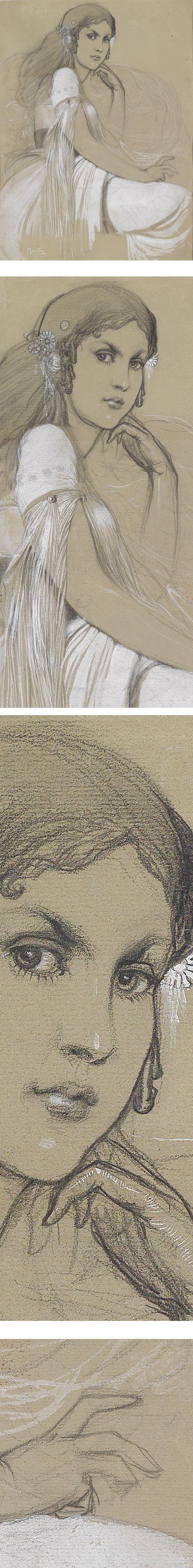 Jaroslava Mucha, pencil portrait drawing by Alfons Mucha