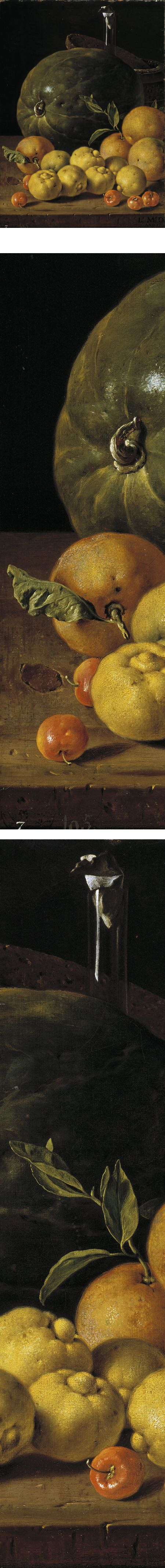 Still Life with Limes, Oranges, Acerola and Watermelon, Luis Egidio Melendez, 18th century Spanish still life