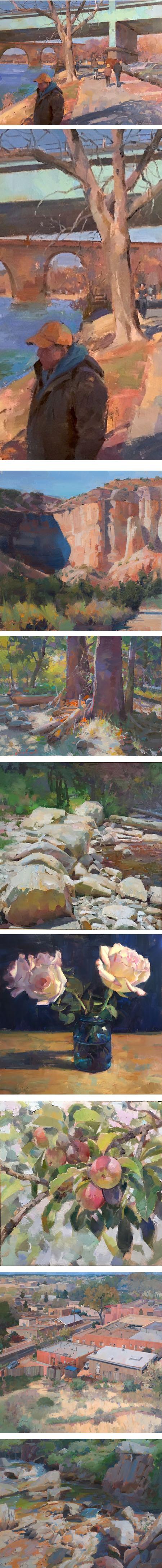 Louis Escobedo, landscapem still life, figures