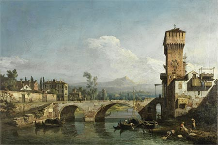 Bernardo Bellotto, Capriccio with a River and Bridge