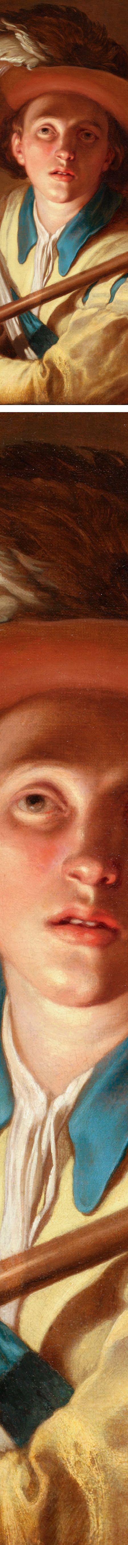 The Flute Player, Abraham Bloemaert, details