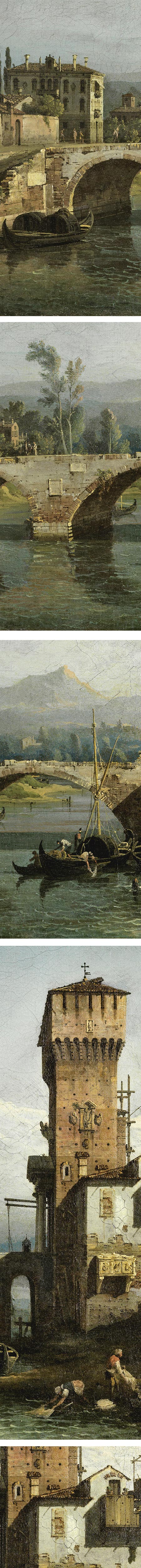 Bernardo Bellotto, Capriccio with a River and Bridge, details