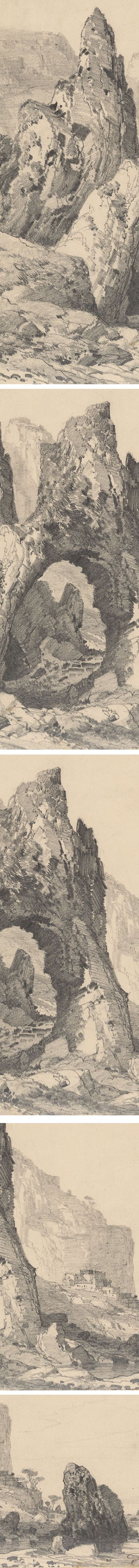 A Natural Stone Arch Beside the Sea, details, Carlo Ferrario pencil drawing